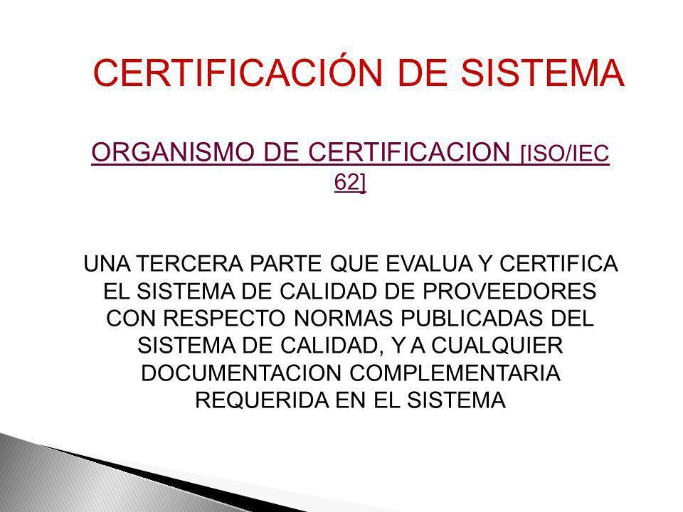 ORGANISMO DE CERTIFICACION [ISO/IEC 62]